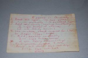 photo of handwritten eggnog recipe
